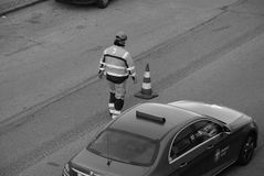 Road sign marker worker. Kastrup/Copenhagen /Denmark -31.October 2017. Road sign marker r wroker in Kasstrup danish capital. Photo.Francis Dean/Dean Pictures stock photos