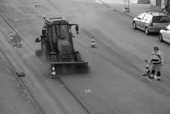 Road sign marker worker. Kastrup/Copenhagen /Denmark -31.October 2017. Road sign marker r wroker in Kasstrup danish capital. Photo.Francis Dean/Dean Pictures stock photography