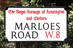 Road sign Marloes Road in London, UK Stock Photos