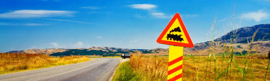 Road sign in the middle of a rural area. (banner Stock Photo