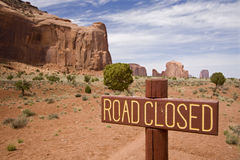Road sign in Monument Valley. Arizona Stock Photo