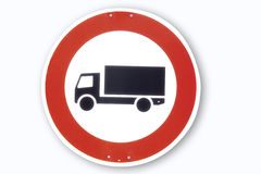 Road sign, motor lorry, close-up Stock Photo
