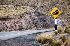 Road sign on mountain road Stock Image