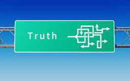 Road sign with multiple paths to the truth vector illustration