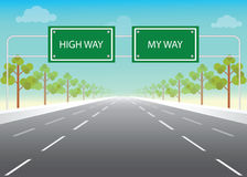 Road sign with my way and high way words on highway. Royalty Free Stock Photography