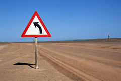 Road sign in the Namib Desert Stock Image