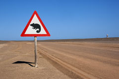 Road sign in the Namib Desert Stock Photography