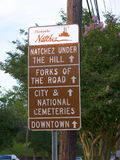 Road sign for Natchez under the Hill by the mighty Mississippi River. Established by French colonists in 1716, Natchez is one of the oldest and most important stock image