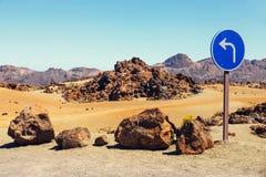 Road sign near El Teide Volcano in Tenerife royalty free stock photography