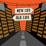 Road sign - New Life - Old Life Stock Image