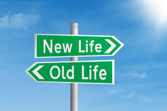 Road sign of new life vs old life. Green road sign of new life vs old life under blue sky stock illustration