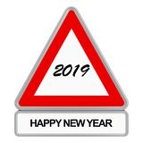 2019 Road sign. A road sign, with the new year 2019 written in the center. Below, the words Happy new year are written stock illustration