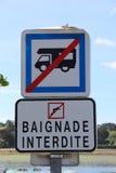 Road sign no camping car and no swimming Royalty Free Stock Image