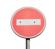 Road sign of no entry road. Stock Photos