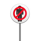 Road sign,no men isolated Stock Photos