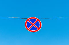 Road sign No stopping against the sky Royalty Free Stock Image