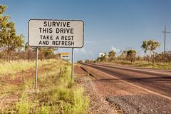 Road sign in Northern Territory Stock Photos