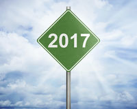 Road sign with number 2017 Stock Photography