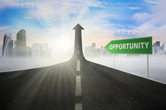 Road sign with opportunity text stock illustration