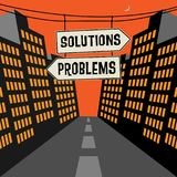 Road sign with opposite arrows and text Solutions - Problems. Vector illustration Stock Photos