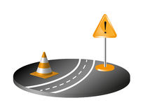 Road with sign and orange cone Royalty Free Stock Photo