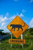 Road sign panther Jaguar crossing mexico. Road sign panther Jaguar crossing in Riviera Maya at Mayan Mexico Royalty Free Stock Images