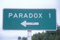 A road sign for Paradox stock images