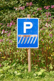 Road sign for parking cars. Royalty Free Stock Photo