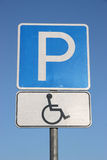 Road sign parking for disabled people. Stock Image
