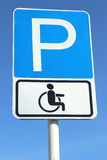 Road sign Parking for disabled people in the sky royalty free stock photo