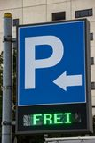 Road sign of a parking garage. Driveway with german text Free stock photos