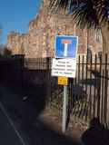 Road sign parking for residents only unauthorised vehicles will royalty free stock photo