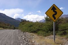 Road sign in Patagonia. Road sign in the Los Glaciares national park in Patagonia, in Argentina Royalty Free Stock Photo