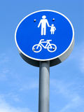 Road sign, pedestrian and bicycles area Stock Photo