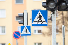 Road sign pedestrian crossing Stock Photos