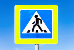 Road sign Pedestrian crossing against the blue sky Stock Photo