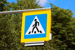 Road sign pedestrian crossing. On background of trees Stock Images