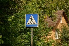 Road sign, pedestrian crossing in green foliage at home Stock Photo