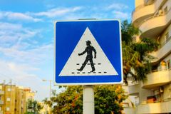 Road sign Pedestrian crossing in Israel royalty free stock images