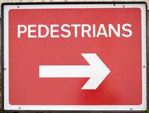Road sign  PEDESTRIAN directional sign Royalty Free Stock Photo