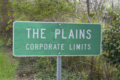 Road sign for The Plains, Virginia Stock Photography