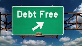 Debt Free Road Sign Background Concept. A road sign pointing to the direction of being debt free stock video