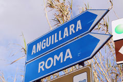 Road sign pointing to Rome, Italy Stock Photos