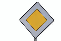 Road sign - priority - isolated. On white background Royalty Free Stock Photography