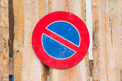 Road sign, prohibitory sign - No parking. Wood Stock Photography