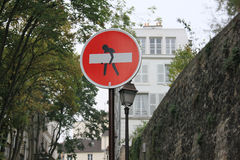 Road sign. Prohibitory road sign on the streets of Paris Stock Image