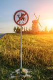 Road sign prohibits Don Quixote Royalty Free Stock Images