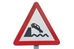 Road sign quayside or river bank isolated on white background royalty free stock photography