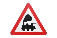Road sign railroad crossing isolated on white background royalty free stock photography