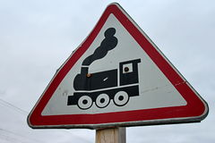 Road sign  railroad crossing Royalty Free Stock Photos